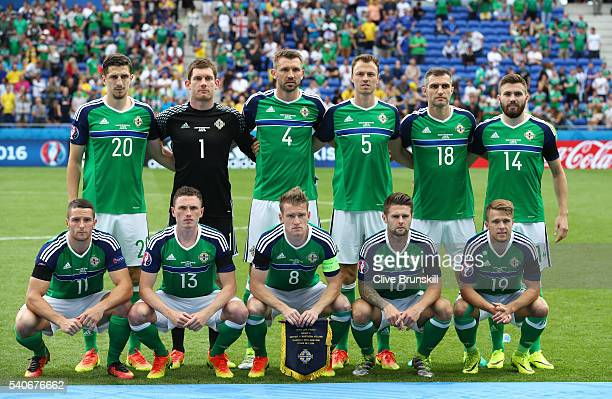 Northern Ireland players line up for the team photos prior to the UEFA EURO 2016 Group C match between Ukraine and Northern Ireland at Stade des...