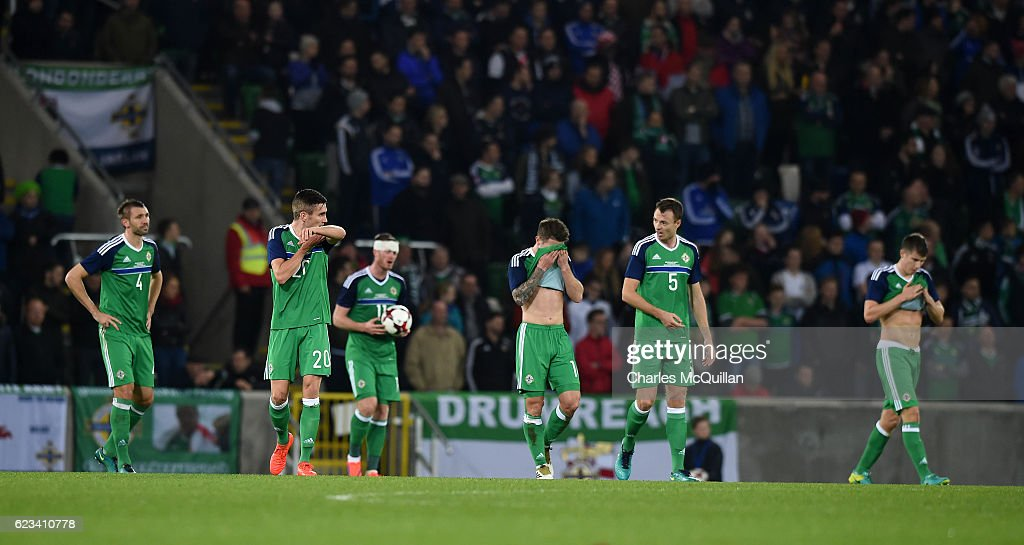 Northern Ireland players react as Croatia scores a second goal during the international friendly fixture between Northern Ireland and Croatia at Windsor Park on November 15, 2016 in Belfast, Northern Ireland.