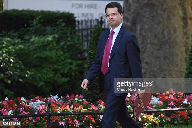 Northern Ireland Secretary James Brokenshire arrives at 10 Downing Street on June 15 2017 in London England Prime Minister Theresa May is due to hold...
