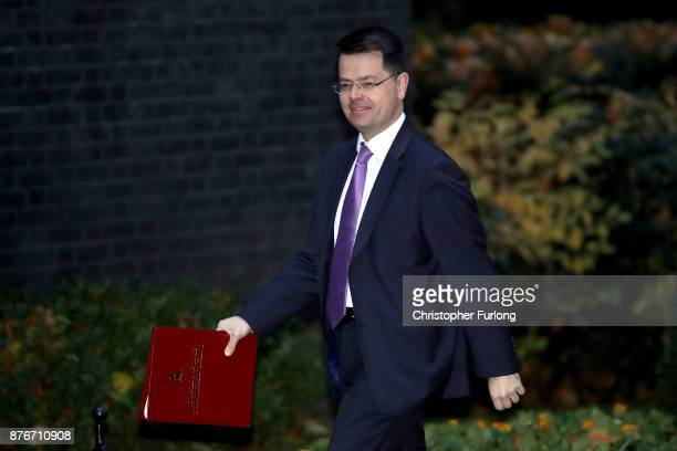 Northern Ireland Secretary James Brokenshire arrives at Downing Street for the Inner Brexit Cabinet meeting on November 20 2017 in London England...