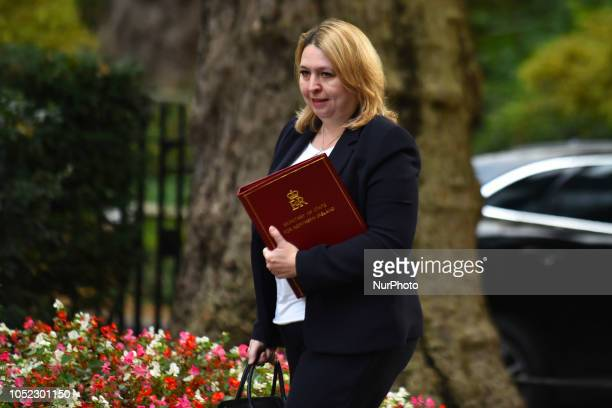 Northern Ireland Secretary Karen Bradley arrives for a weekly meeting of cabinet ministers at number 10 Downing Street in London on October 16 2018...