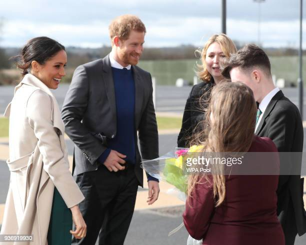 Northern Ireland Secretary Karen Bradley introduces school children to Prince Harry and Meghan Markle visit the Eikon Centre and attend an event to...