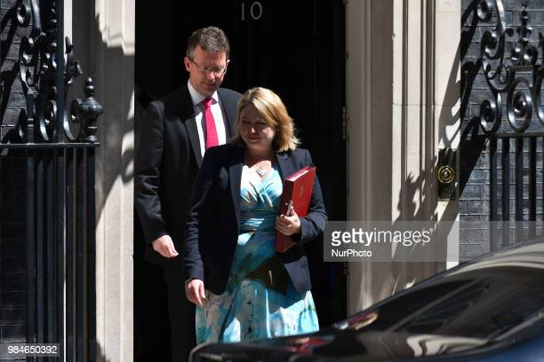 Northern Ireland Secretary Karen Bradley leaves 10 Downing Street in central London on June 26 2018 British MPs overwhelmingly approved on Monday...