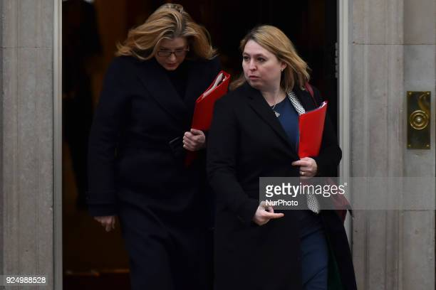 Northern Ireland Secretary Karen Bradley leaves Downing Street to attend the weekly Cabinet meeting London on February 27 2018
