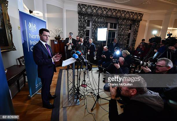 Northern Ireland Secretary of State James Brokenshire holds a press conference in the Great Hall at Stormont on January 16 2017 in Belfast Northern...