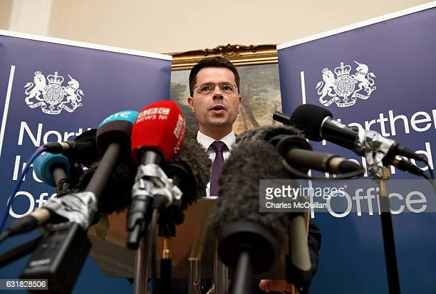 Northern Ireland Secretary of State James Brokenshire holds a press conference at Stormont on January 16 2017 in Belfast Northern Ireland Northern...