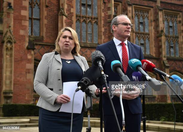 Northern Ireland secretary of state Karen Bradley and Irish deputy prime minister Simon Coveney hold a press conference as they attend an event to...