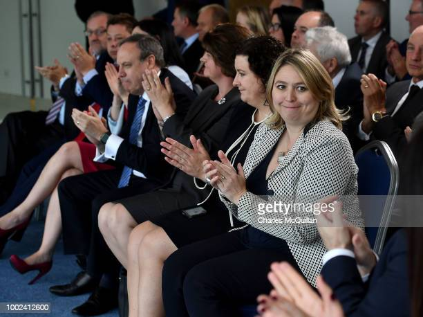 Northern Ireland Secretary of State Karen Bradley applauds British Prime Minister Theresa May's keynote speech at the Waterfront Hall on July 20 2018...