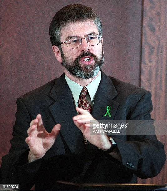 Northern Ireland Sinn Fein party President Gerry Adams speaks during a luncheon by the National Committee on American Foreign Policy 21 October 1999...