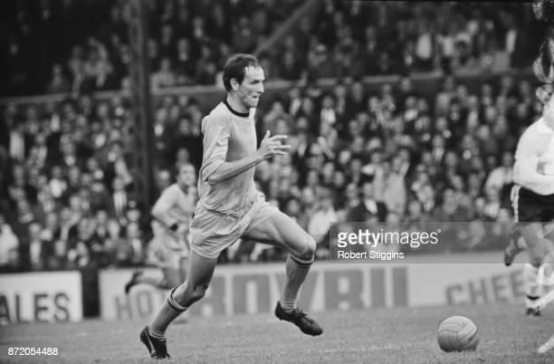 Northern Ireland soccer player Derek Dougan of Wolverhampton Wanderers FC in action UK 21st August 1967
