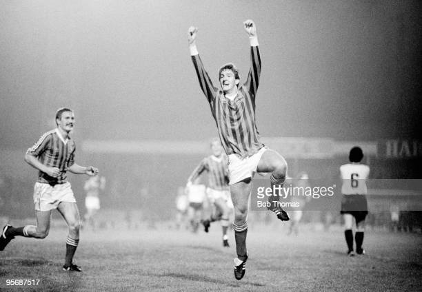 Northern Ireland striker Norman Whiteside celebraates after scoring his team's second goal in their European Championship Qualifying match against...