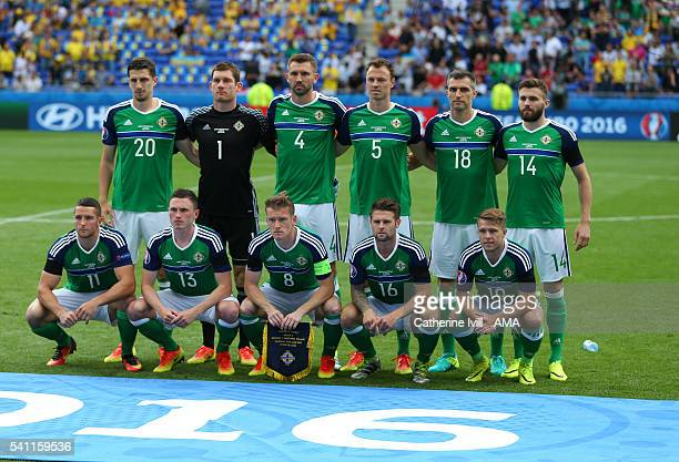 Northern Ireland team group before the UEFA EURO 2016 Group C match between Ukraine and Northern Ireland at Stade des Lumieres on June 16 2016 in...
