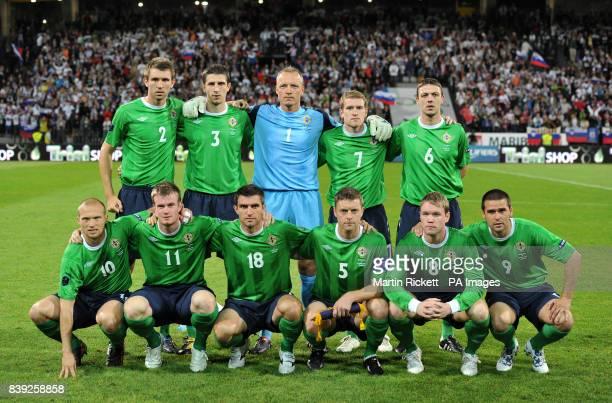 Northern Ireland team group during the UEFA European Championship Qualifying match at the Ljudski Vrt Stadium Maribor