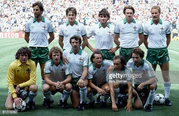 Northern Ireland team group prior to the start of the Northern Ireland v France World Cup match played in Madrid Spain on the 4th July 1982 Back Row...