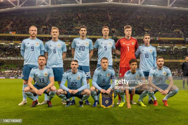Northern Ireland team photo before the friendly international between Rep of Ireland and Northern Ireland at the Aviva Stadium