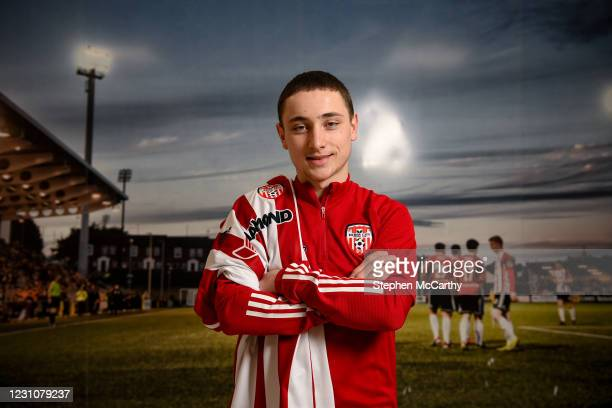 Northern Ireland , United Kingdom - 10 February 2021; Derry City unveil new loan signing Joe Hodge at their training facility in Elagh Busniess Park,...