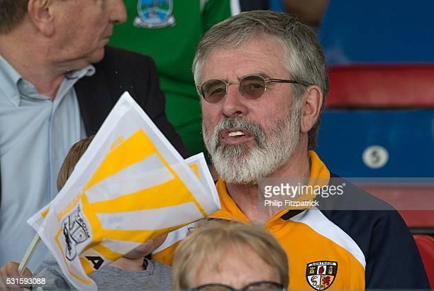Northern Ireland United Kingdom 15 May 2016 Sinn Fein leader Gerry Adams TD watches on during the Ulster GAA Football Senior Championship Preliminary...