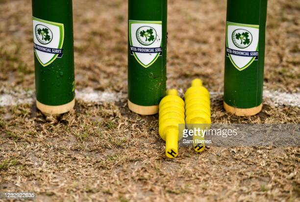 Northern Ireland , United Kingdom - 16 May 2021; A detailed view of the bails and stumps before the Cricket Ireland Inter-Provincial Cup 2021 match...