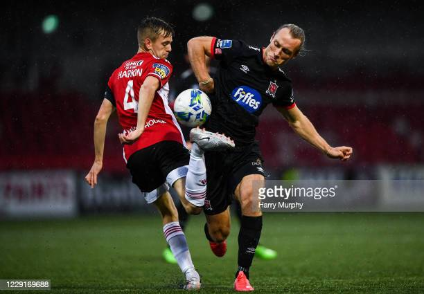 Northern Ireland , United Kingdom - 19 October 2020; Greg Sloggett of Dundalk in action against Ciaron Harkin of Derry City during the SSE Airtricity...