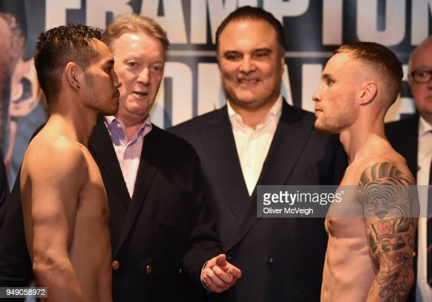 Northern Ireland United Kingdom 20 March 2018 Nonito Donaire left and Carl Frampton in a head to head during the weighs in ahead of the featherweight...