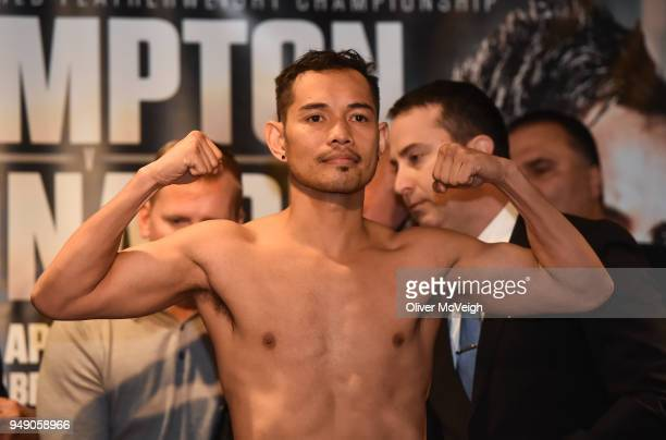 Northern Ireland United Kingdom 20 March 2018 Nonito Donaire weighs in ahead of the featherweight bout between Carl Frampton and Nonito Donaire at...
