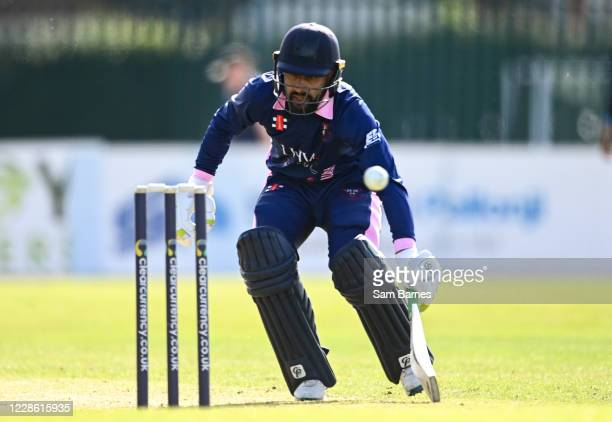 Northern Ireland , United Kingdom - 20 September 2020; Simi Singh of YMCAreturns to his crease as a run out is attempted during the All-Ireland T20...