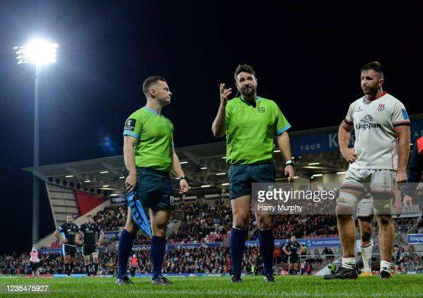Northern Ireland , United Kingdom - 24 September 2021; Referee Ben Whitehouse watches a TMO during the United Rugby Championship match between Ulster...