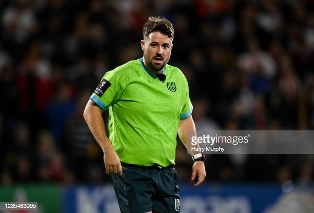 Northern Ireland , United Kingdom - 24 September 2021; Referee Ben Whitehouse during the United Rugby Championship match between Ulster and Glasgow...