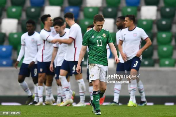 Northern Ireland , United Kingdom - 28 March 2021; Shane Ferguson of Northern Ireland after his side conceded their first goal, scored by Giovanni...