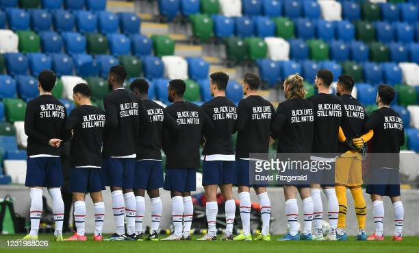 Northern Ireland , United Kingdom - 28 March 2021; The USA team stand for the National Anthem, wearing t-shirts supporting the Black Lives Matter...