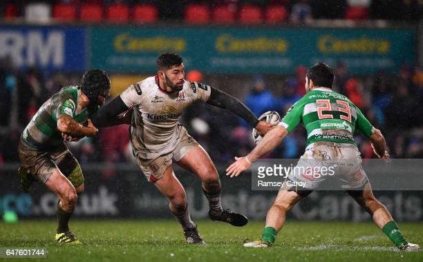 Northern Ireland United Kingdom 3 March 2017 Charles Piutau of Ulster is tackled by Ian McKinley supported by Andrea Pratichetti of Benetton Treviso...