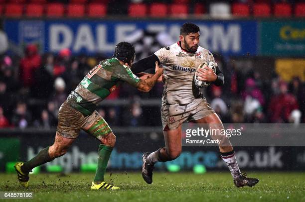 Northern Ireland United Kingdom 3 March 2017 Charles Piutau of Ulster is tackled by Ian McKinley of Benetton Treviso during the Guinness PRO12 Round...