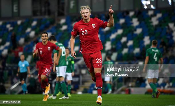 Northern Ireland , United Kingdom - 7 September 2020; Erling Braut Haaland of Norway celebrates after scoring his side's second goal during the UEFA...