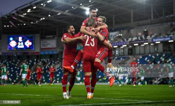 Northern Ireland , United Kingdom - 7 September 2020; Erling Braut Haaland of Norway, centre, is congratulated by team-mates after scoring his side's...