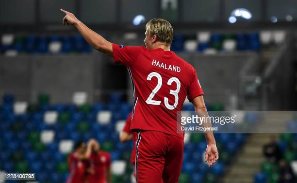 Northern Ireland , United Kingdom - 7 September 2020; Erling Braut Haaland of Norway during the UEFA Nations League B match between Northern Ireland...