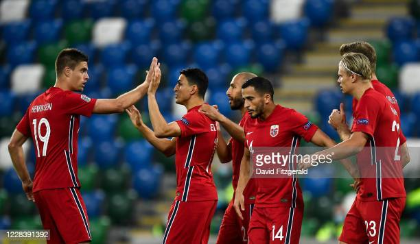 Northern Ireland , United Kingdom - 7 September 2020; Mohamed Elyounoussi of Norway, second from left, celebrates after scoring his side's first goal...
