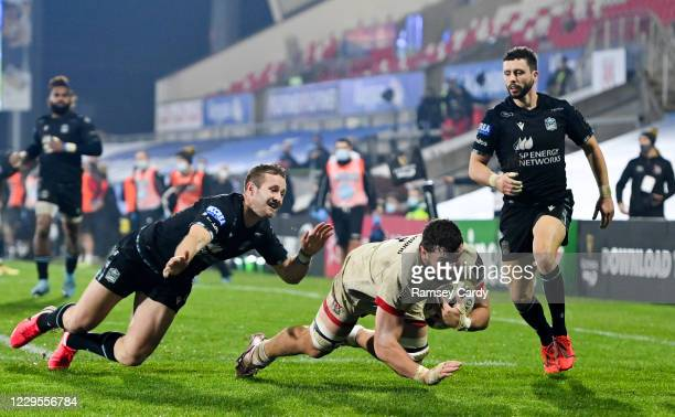 Northern Ireland , United Kingdom - 9 November 2020; Sean Reidy of Ulster dives over to score his side's fifth try during the Guinness PRO14 match...