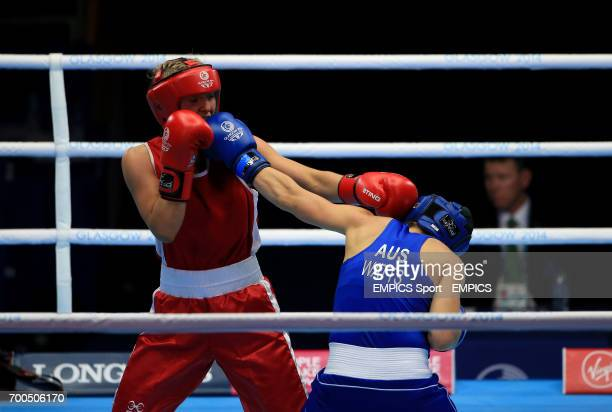 Northern Ireland's Alanna AudleyMurphy in action against Australia's Shelley Watts in the Women's Light Semifinal 1 at the SECC during the 2014...