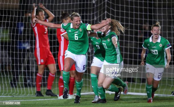 Northern Ireland's Ashley Hutton celebrates scoring their second goal during the UEFA Women's Euro 2021 Qualifying Group C match at Rodney Parade...