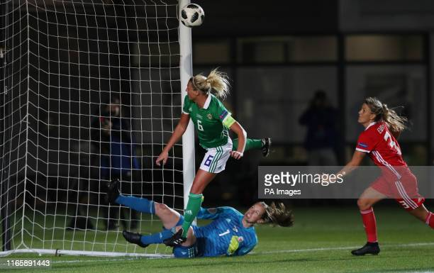 Northern Ireland's Ashley Hutton scores their second goal during the UEFA Women's Euro 2021 Qualifying Group C match at Rodney Parade Newport