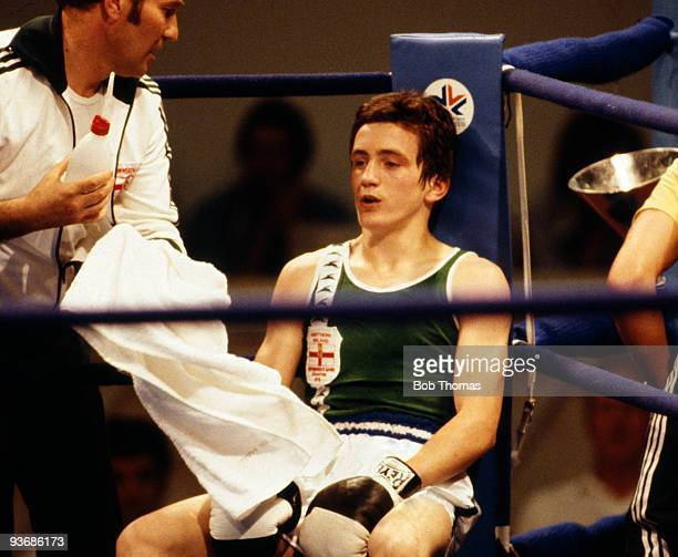 Northern Ireland's bantamweight boxer Barry McGuigan during the Commonwealth Games in Edmonton 1978 McGuigan won the gold medal