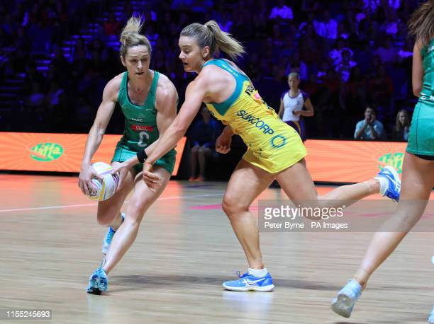 Northern Ireland's Caroline O'Hanlon and Australia's Liz Watson during the Netball World Cup match at the M&S Bank Arena, Liverpool.