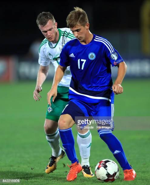 Northern Ireland's Chris Brunt and San Marino's Filippo Berardi