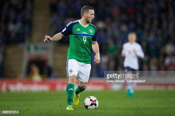 Northern Ireland's Conor Washington in action during the FIFA 2018 World Cup Qualifier between Northern Ireland and Norway at Windsor Park on March...