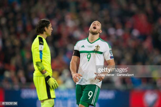 Northern Ireland's Conor Washington reacts after a missed chance during the FIFA 2018 World Cup Qualifier PlayOff Second Leg between Switzerland and...