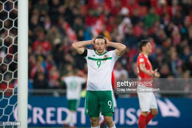 Northern Ireland's Conor Washington reacts to a missed chance during the FIFA 2018 World Cup Qualifier PlayOff Second Leg between Switzerland and...