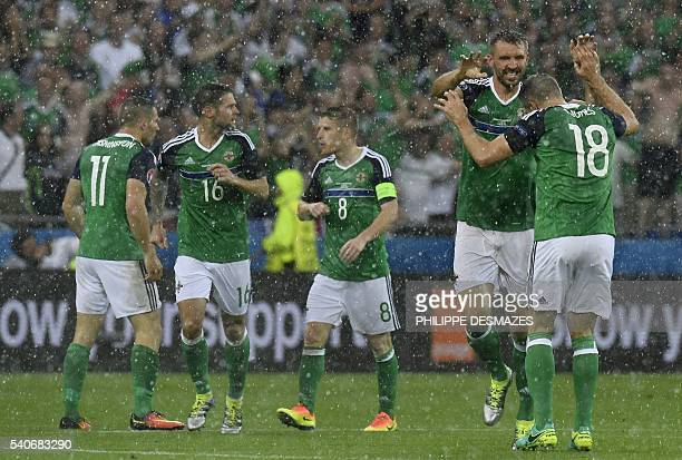 Northern Ireland's defender Gareth McAuley celebrates with Northern Ireland's defender Aaron Hughes after scoring during the Euro 2016 group C...