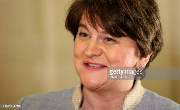 Northern Ireland's Democratic Unionist Party leader Arlene Foster conducts TV interviews at the Parliament Buildings on the Stormont Estate in...