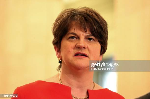 Northern Ireland's First Minister, and Leader of the DUP, Arlene Foster speaks to members of the media in the Great Hall inside Parliament Buildings,...