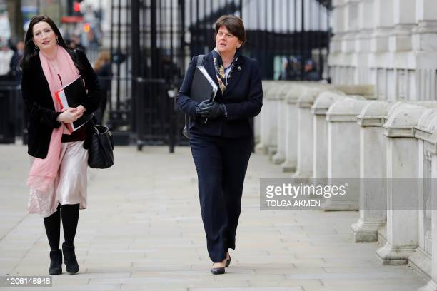 Northern Ireland's First Minister, and Leader of the DUP, Arlene Foster arrives at the Cabinet Office in central London on March 9 ahead of an...